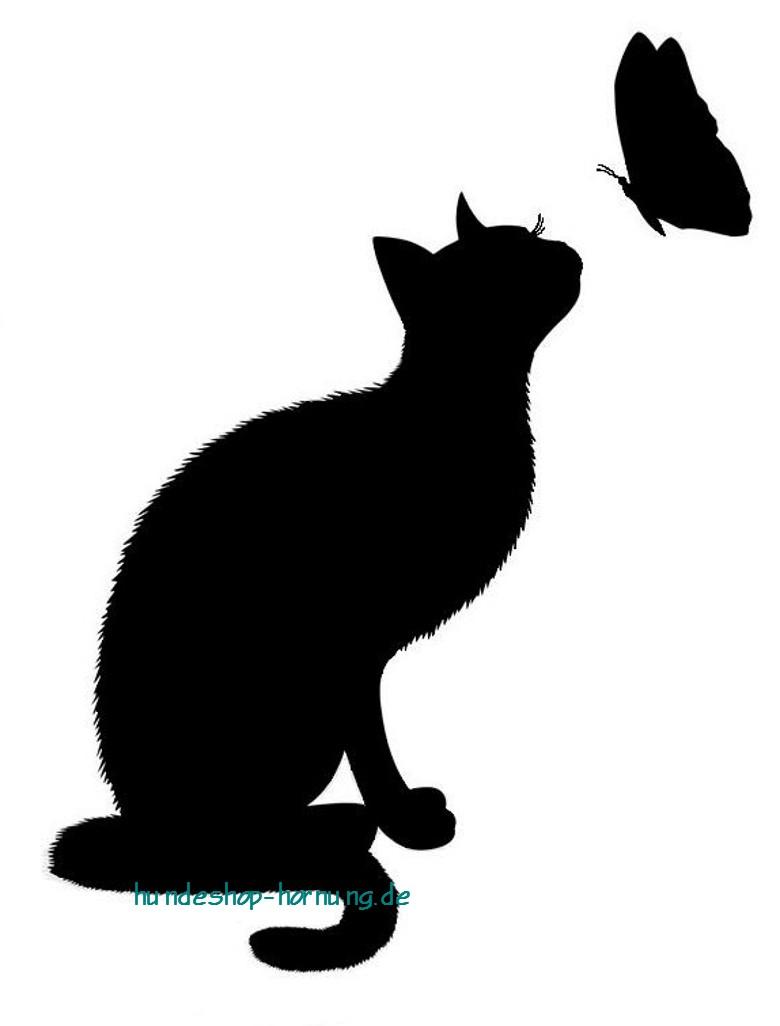 AB - Katze sitzend mit Schmetterling Aufbügler - tierisch-und-mehr.de